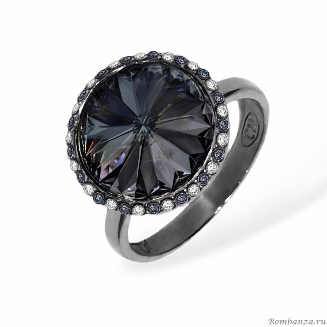 Кольцо Enigme soir rhodium Black Diamond, MJ Paris, Swarovski ®