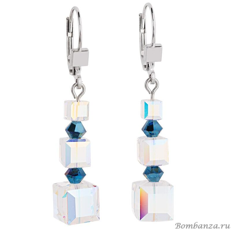 Серьги Coeur de Lion GeoCUBE blue, 4883/20-0700